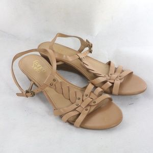 FRANCO SARTO Umaya Tan Leather Wedge Sandals NEW